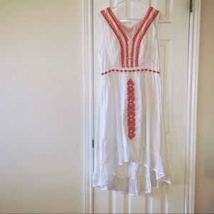 Klozlyne Boho Embroidered Hi Low Dress Sz L